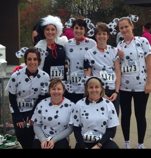 ANGELA (TOP LEFT) AS CRUELLA AND ROXANNE (NEXT TO HER) AS ONE DALMATION!