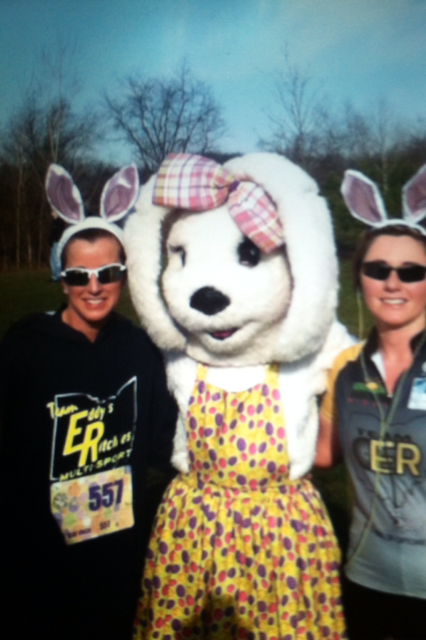 Roxanne and Angela at the Funny Bunny 5k in Perry