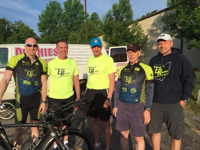Tallmadge Memorial 5k... Chris S. lead bike....Henry, Paul L. Jim and Steve Bable