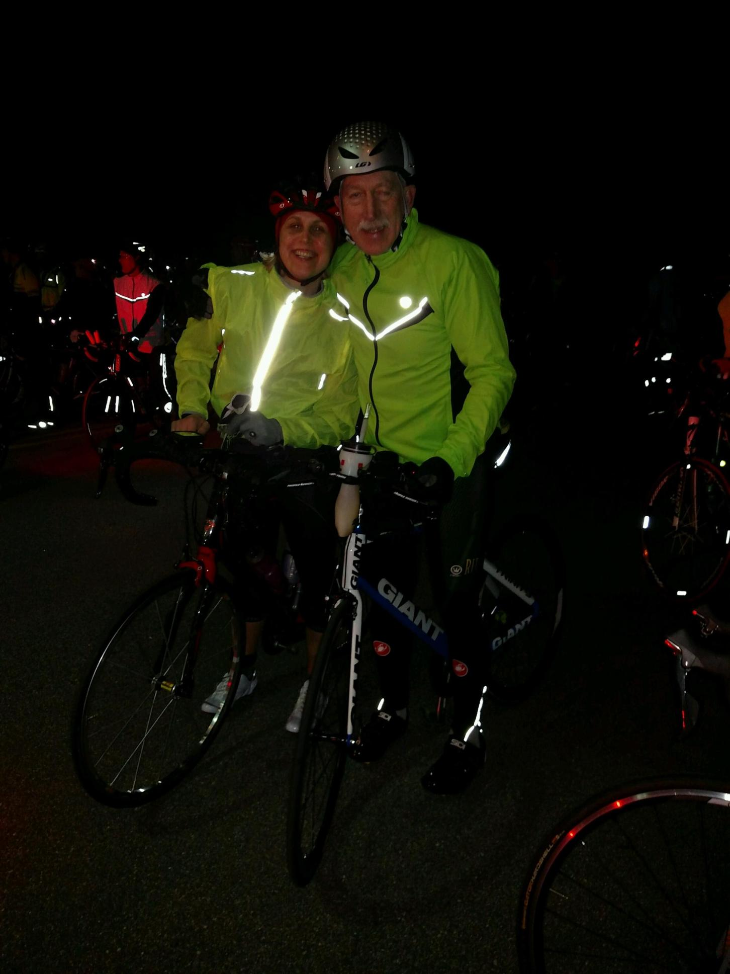 Cassie and Wally before the start of the Florida 12 Sebring bike race