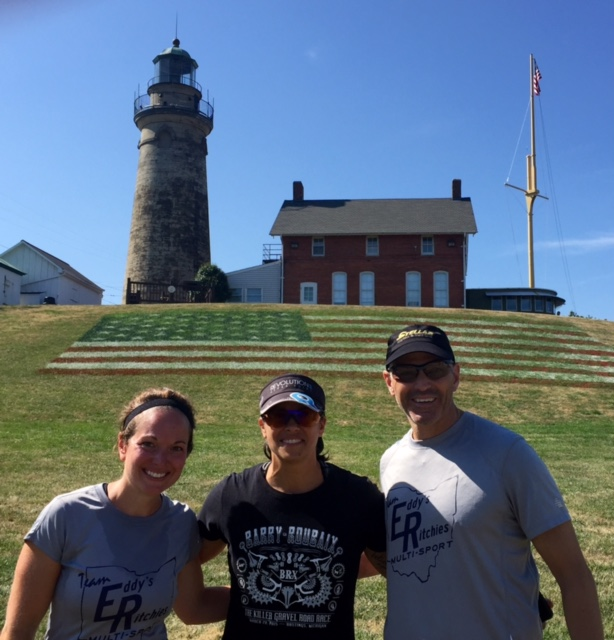 TEAM ER Lighthouse Tri relay....Gretchen, Stacy and Scott...Ist Place!