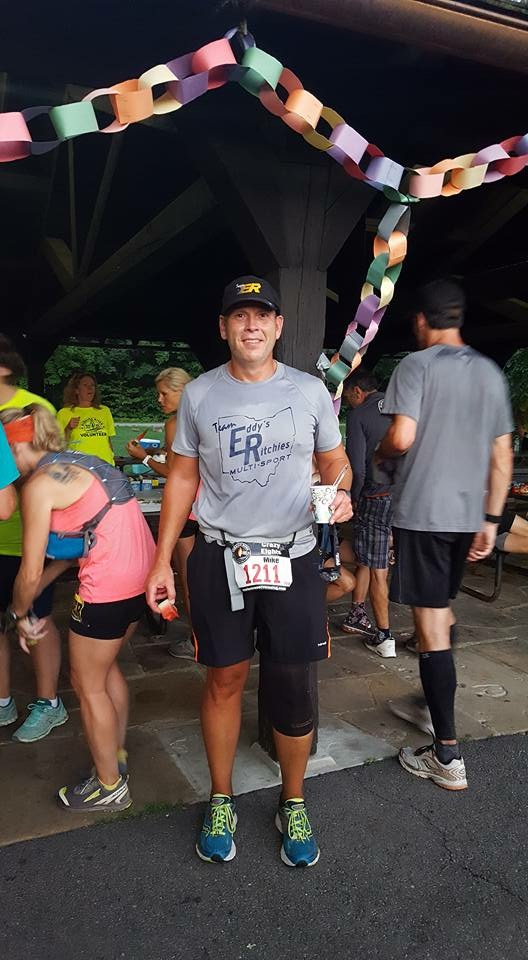 MIKE WILLIAMS AFTER FINISHING HIS LEG OF THE BURNING RIVER 100 MILE RACE