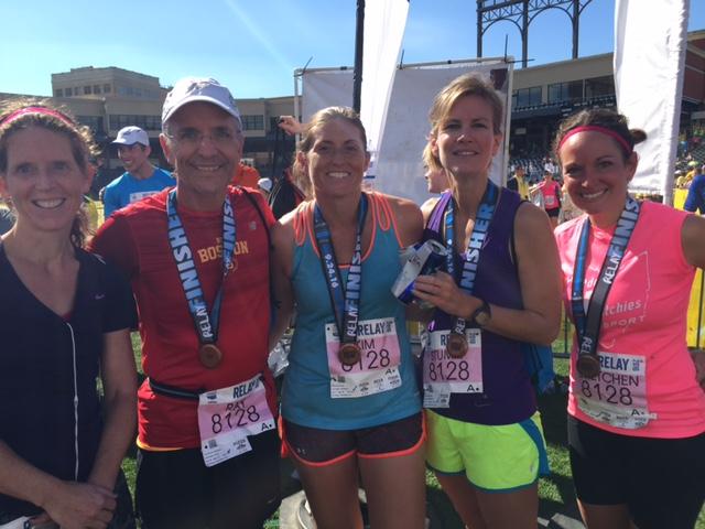 Akron Marathon team relay..Ray, Gretchen and friends