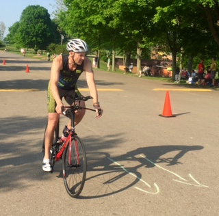Paul....first loop on bike....Clays Park