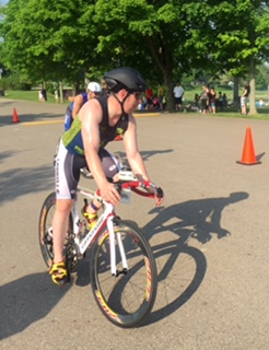 Roy finishing first loop on bike Clays Park