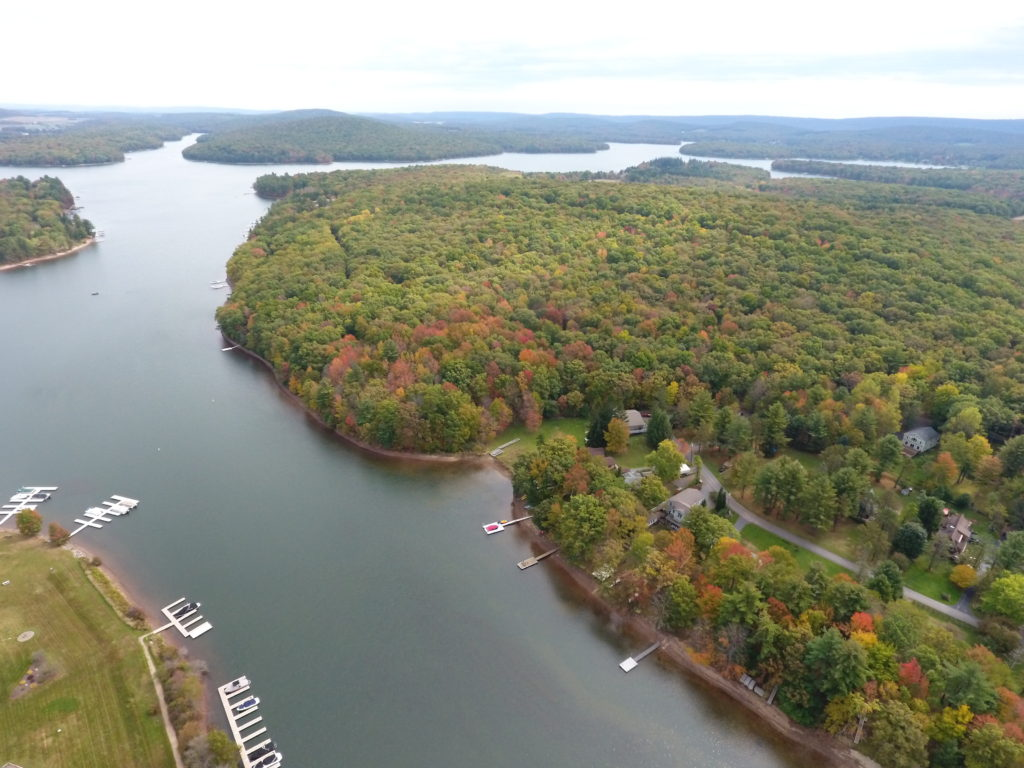 house rental properties boat dock autumn birds eye canal view in deep creek lake