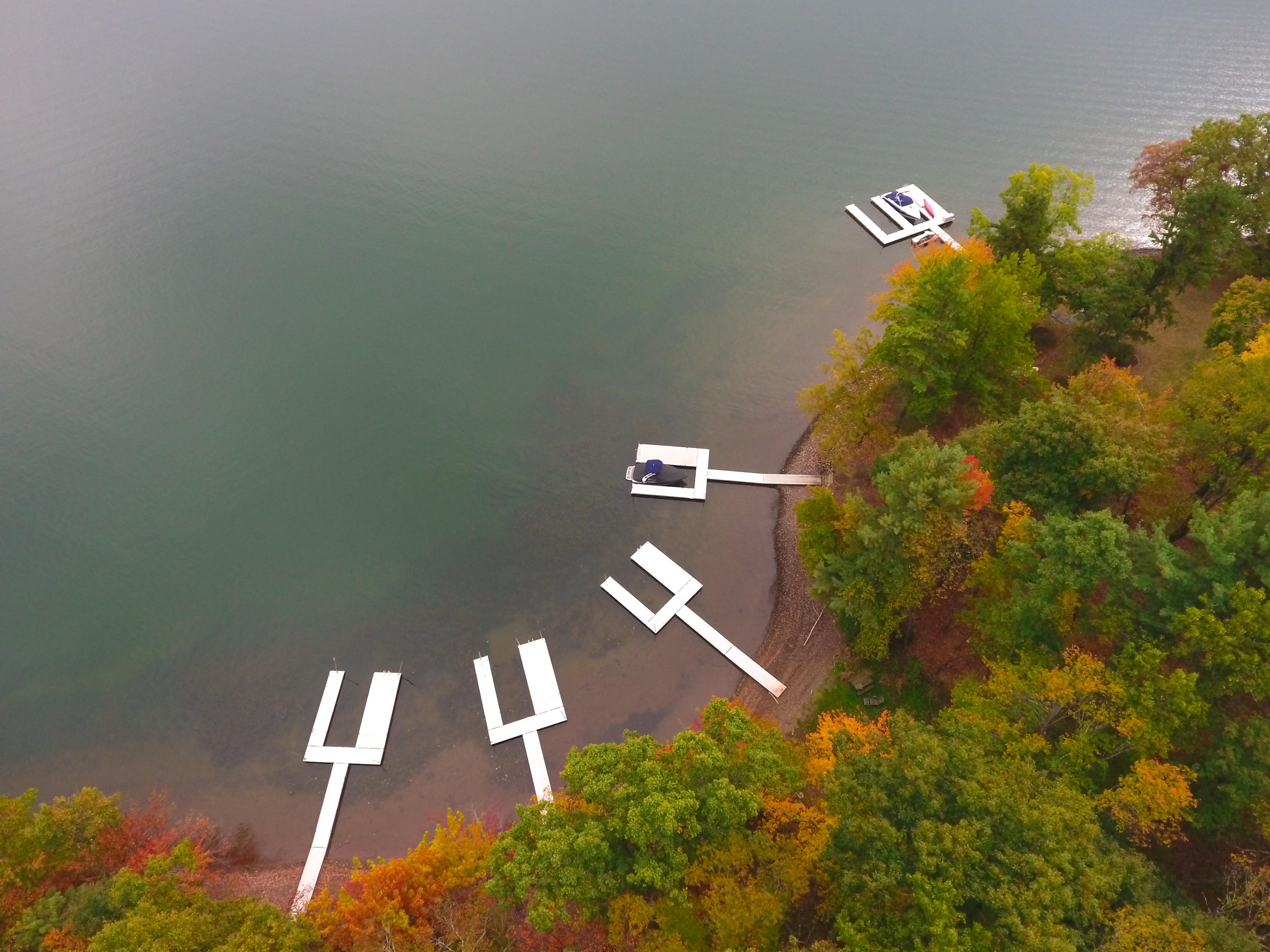 deep creek lake vacation rentals birds eye view autumn boat dock