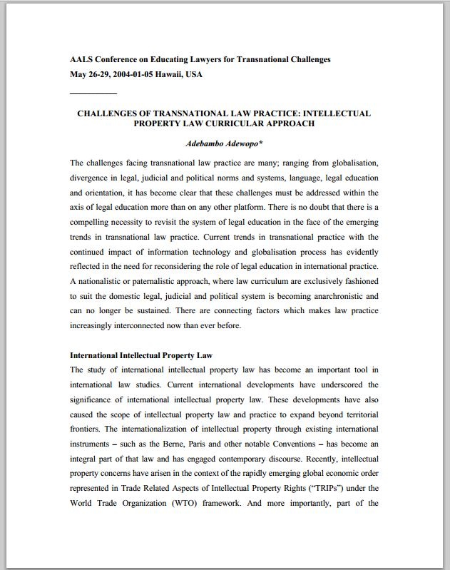 Challenges of Transnational Law Practice - Intellectual Property Law Curricular Approach
