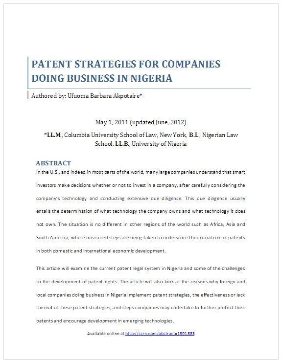 Patent Strategies for Companies Doing Business in Nigeria