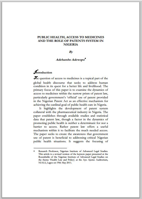 Public Health, Access to Medicines and the Role of Patents Systems in Nigeria