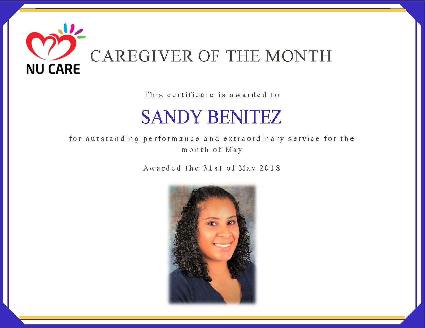 Caregiver of the Month Sandy Benitez