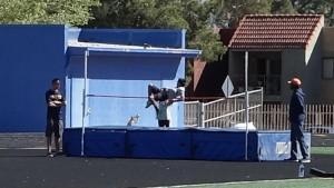 Sky with his winning high jump. Nice air!