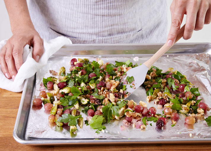 healthy thanksgiving sides Brussels Sprouts With Grapes & Walnuts