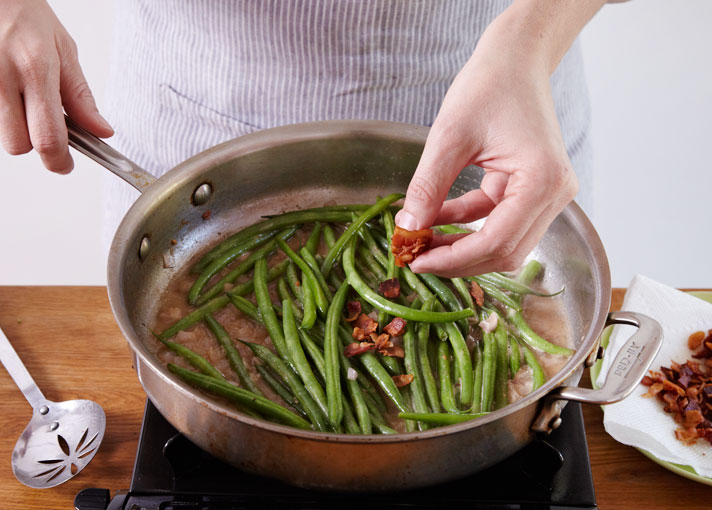 Thanksgiving Day Sides Crisp Haricots Verts In a Sweet and Sour Bacon Sauce