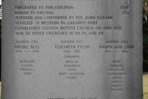 Details on Corbly dedication monument, Garards Fort, PA