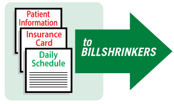 """""""Send patient information, insurance card and daily schedule to Billshrinkers"""" Graphic"""