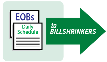 Send EOB's & Daily Schedule to Billshrinkers Graphic