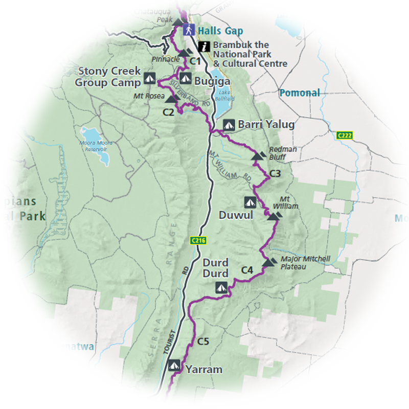 A preview map of the Central Grampians