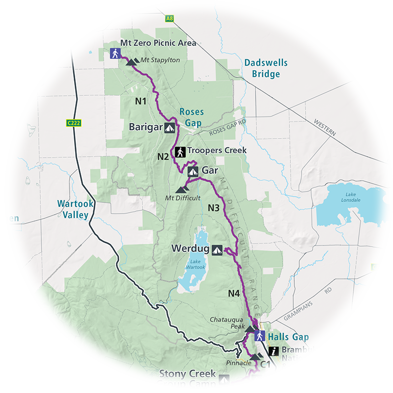 A preview map of the Northern Grampians