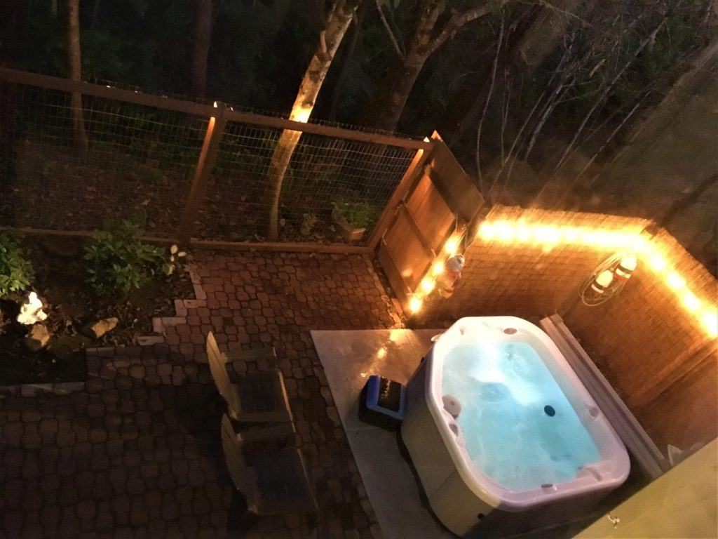 Hot tub area at night