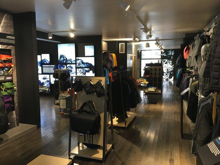 Arc'Teryx Interior store and displays