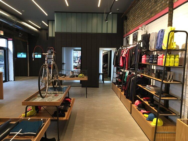 Rapha Cycle Clubs interior displays