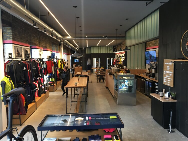 Rapha Cycle Clubs interior with patron