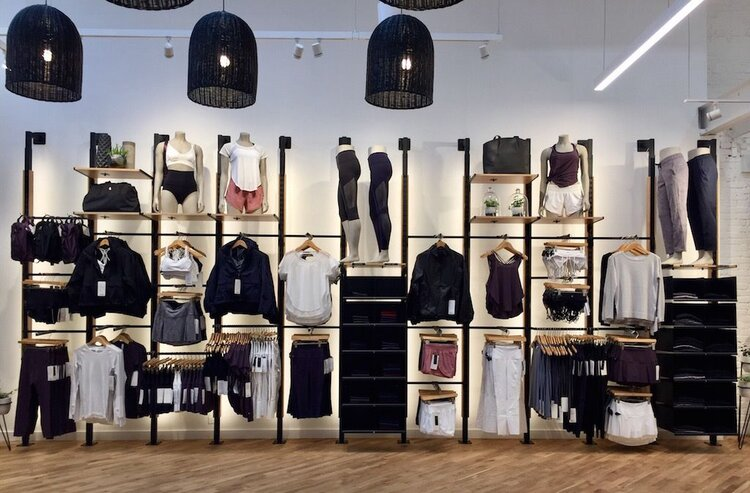 lululemon athletica interior display with merchandise