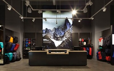 Arc'Teryx Stanford service desk and interior displays