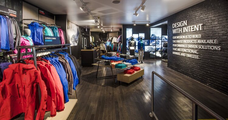 Arc'Teryx Interior store and feature wall