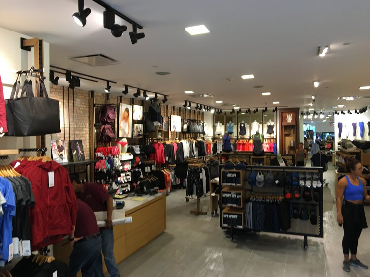 lululemon athletica interior with merchandise