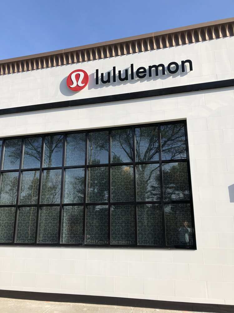 lululemon athletica exterior windows and logo on side of building