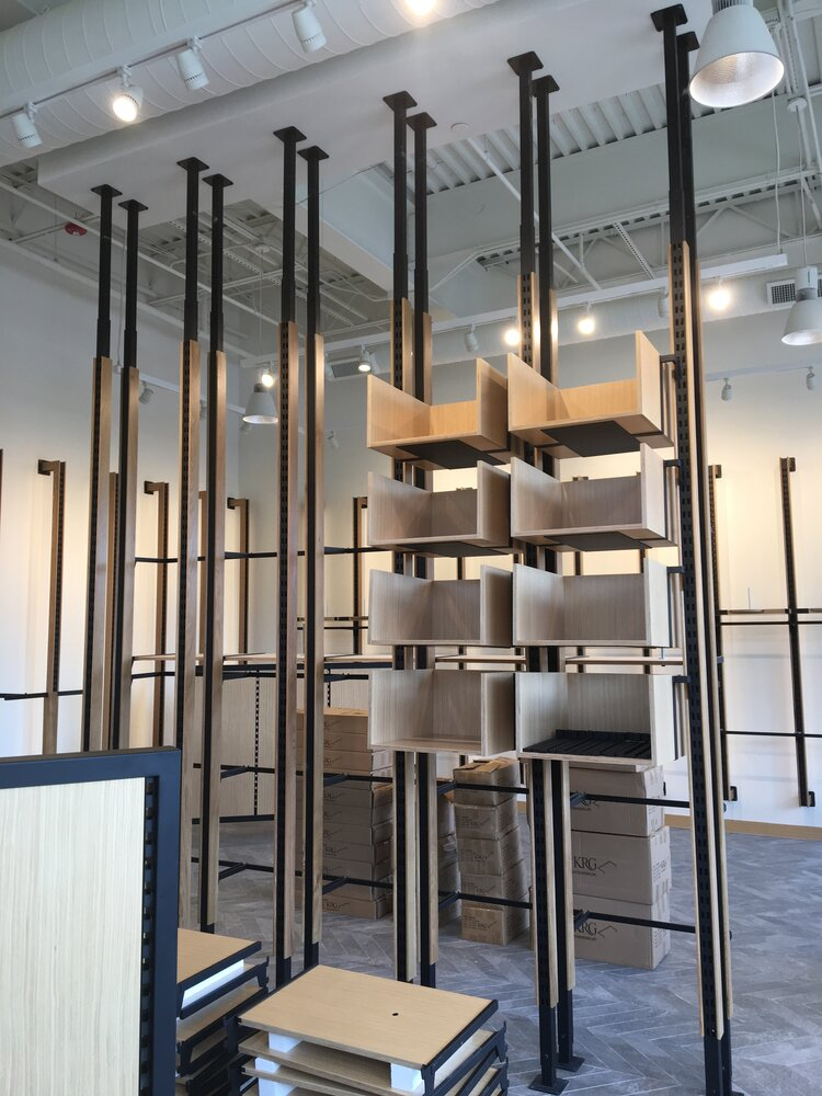 lululemon athletica interior shelving construction