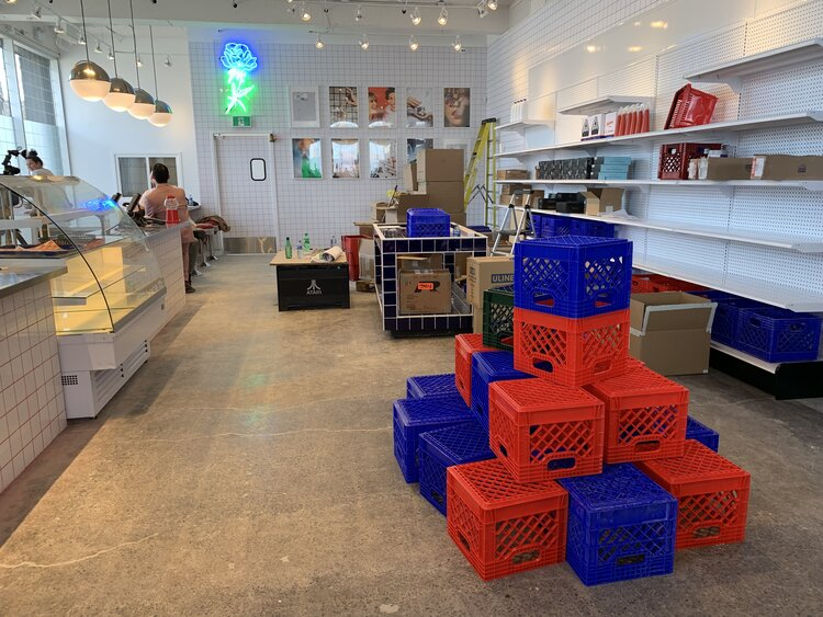 Superette interior crate displays