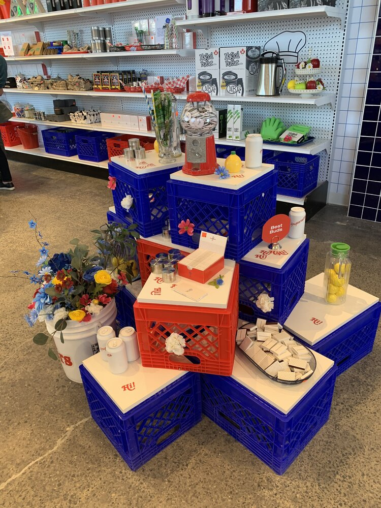 Superette interior crate displays with product