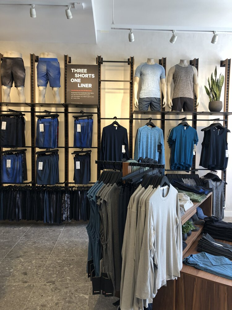 lululemon athletica display of mens merchandise