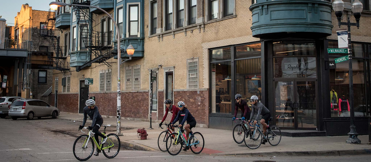 Rapha Cycle Clubs exterior with bicyclists