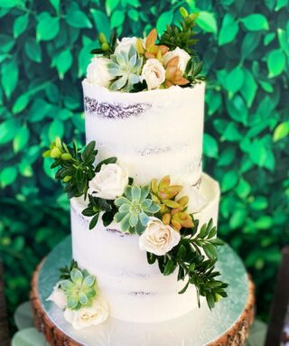 Succulents and roses for this baby shower cake! 💚  @northernvirginiamag