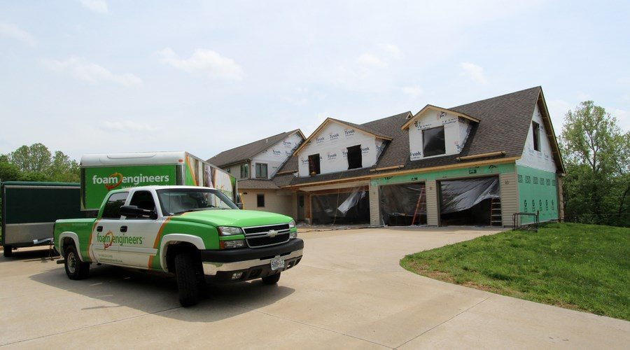 Rooms above the garage are air sealed from garage exhaust gases with SPRAY FOAM INSULATION!