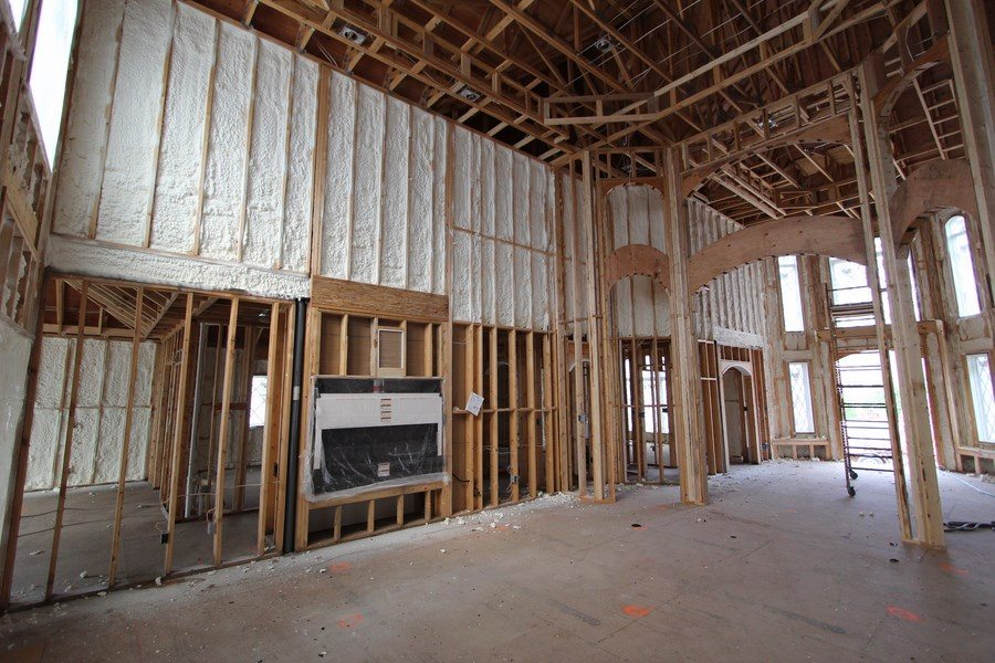 Closed cell spray foam insulation in 2x6 exterior walls.