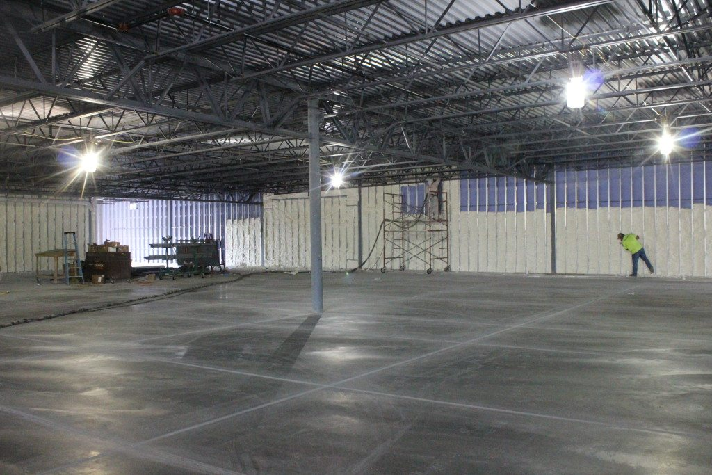 Foam Engineers applied open cell spray foam to the steel frame of this new Aldi's in Quincy, IL.