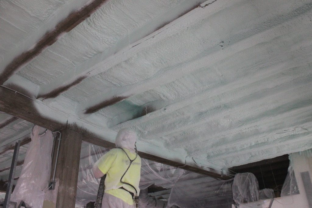 Foam Engineers applied the second coat of closed cell spray foam. The ceiling and rafters were all coated to prevent any possibility of thermal bridging.