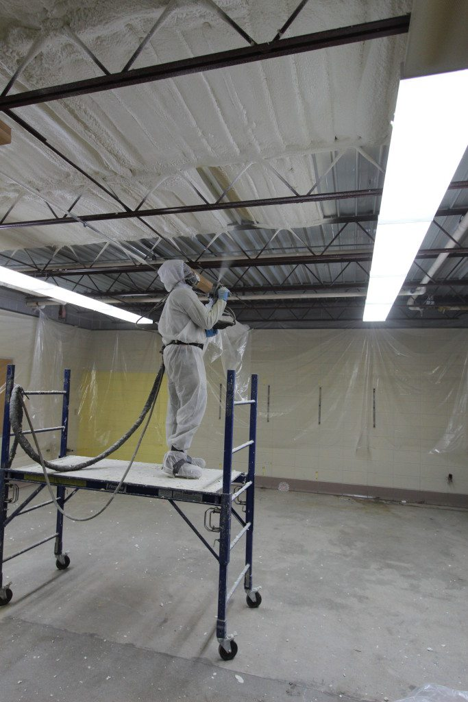 This is how the finished spray foam application will look. Instead of being totally smooth, it  mimics the contour of the material is has been applied to.