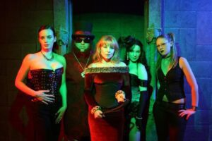 a group of people in horror costumes