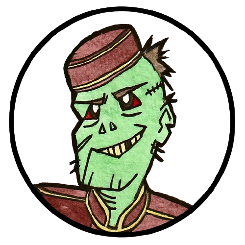 A cartoon drawing of a zombie in cinema staff attire