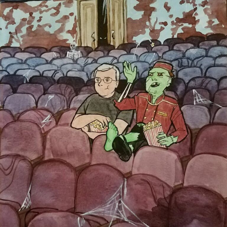 A drawing of a man and a zombie in a dilapidated theater