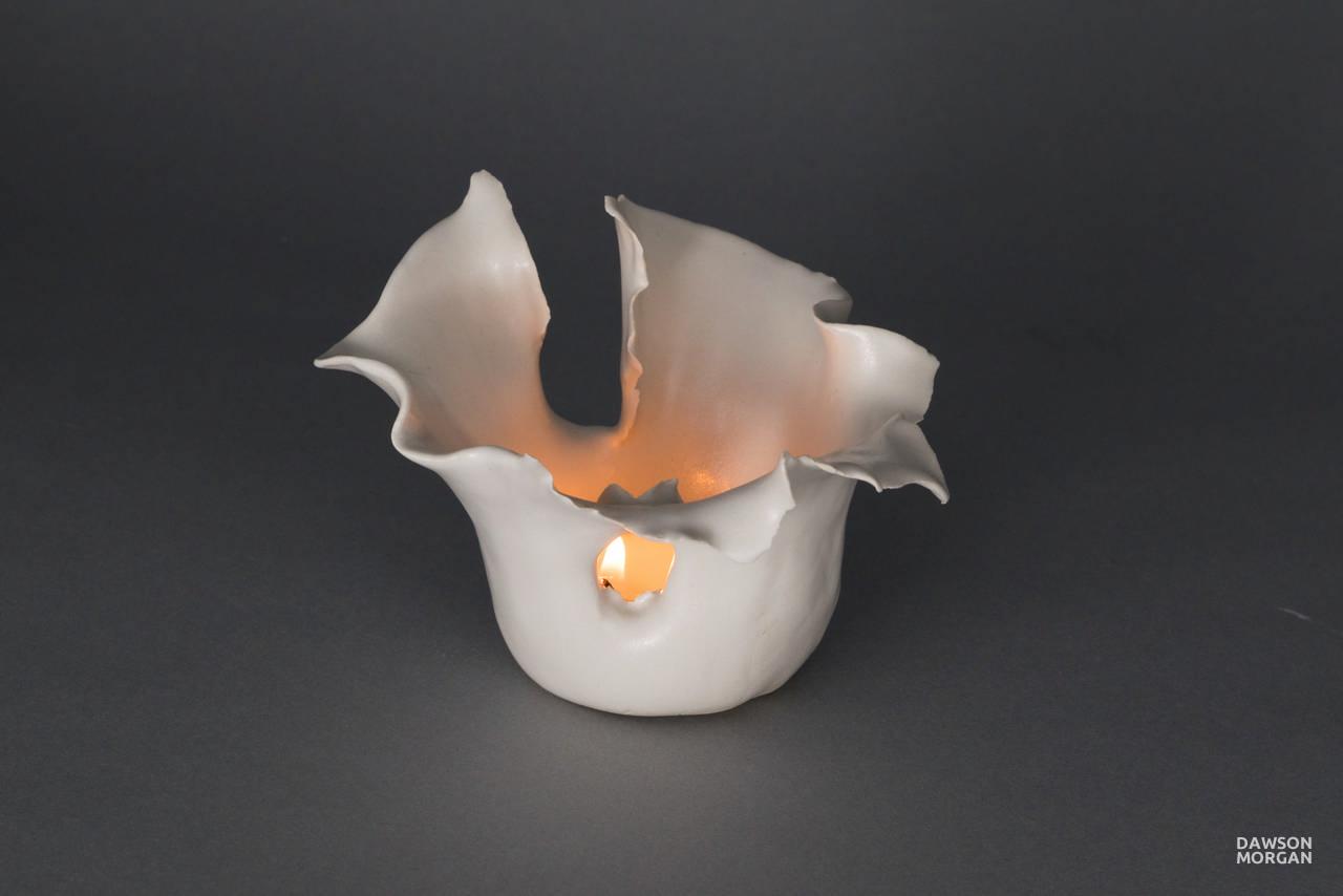 Dawson Morgan Candle Holder White Matte Small Dramatic 5x5x3