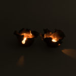 Dawson Morgan Pair Candle Holder Raku Small Dramatic 5x5x3