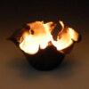 Dawson Morgan Candle Holder Raku Small Dramatic 5x5x3