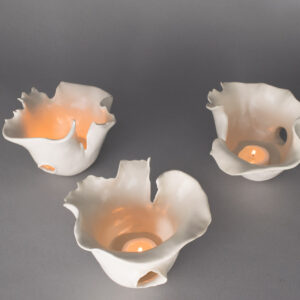Dawson Morgan Set of Three Candle Holder White Matte Small Dramatic 5x5x3